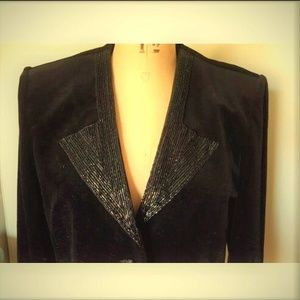 Vintage velvet black sequin beaded collar blazer M